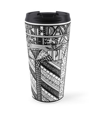 Birthday Wishes Aussie Tangle Black & White smaller version for mugs by Heatherian