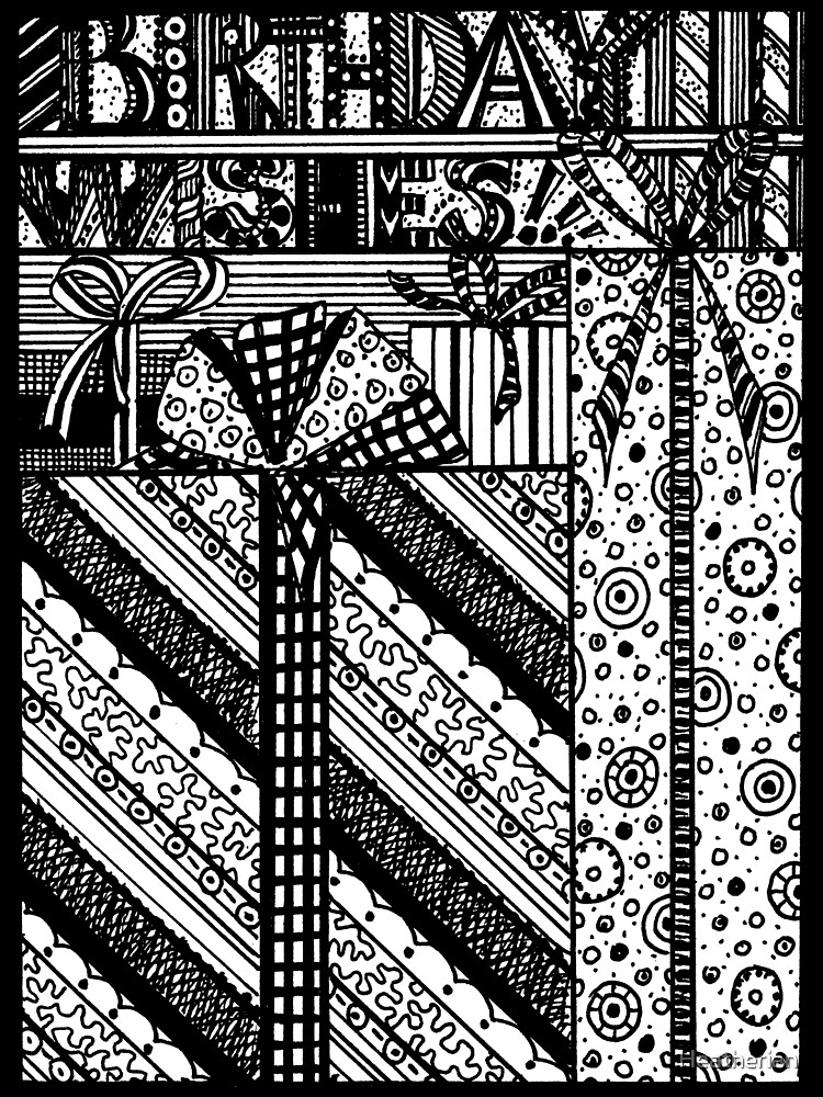 Birthday Wishes Aussie Tangle Black & White by Heather Holland by Heatherian