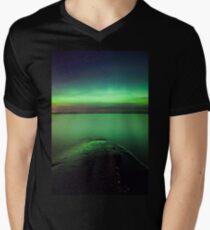 Northern lights glow over lake T-Shirt