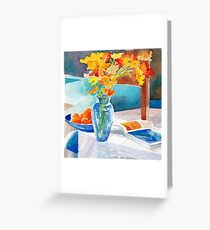 Poppies in a Blue Vase Greeting Card