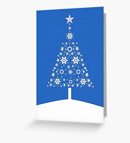 Christmas Tree Made Of Snowflakes On Blue Background Greeting Card