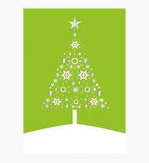 Christmas Tree Made Of Snowflakes On Lime Background Photographic Print
