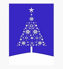 Christmas Tree Made Of Snowflakes On Purple Background Photographic Print