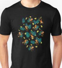 Tropical Monkey Banana Bonanza on Black T-Shirt