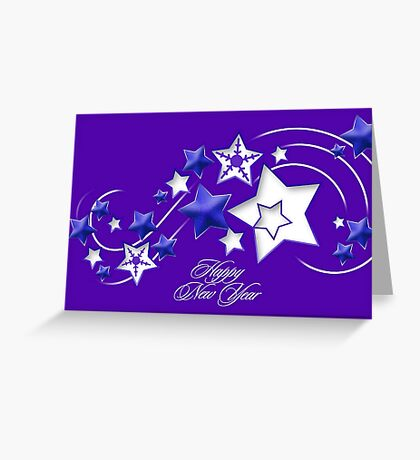 Blue and Purple Happy New Year Shooting Stars  Greeting Card