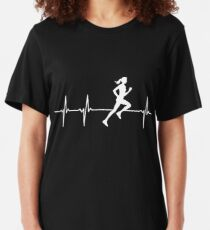 Female Runner In A Heart Beat Slim Fit T-Shirt