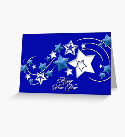 Teal and Blue Happy New Year Shooting Stars Greeting Card