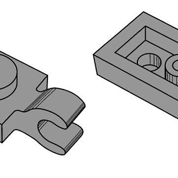 The Lego Grey Plate 2X1 W-Holder, Vertical by mecanolego