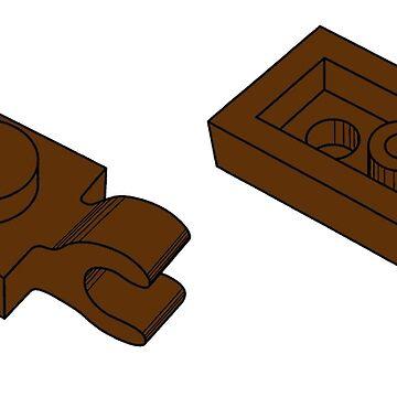 The Lego Reddish Brown Plate 2X1 W-Holder, Vertical by mecanolego