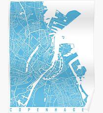 Copenhagen map blue Poster