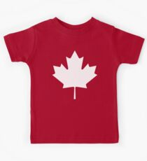 MAPLE LEAF, CANADA, CANADIAN, WHITE, Pure & Simple, Canadian Flag, National Flag of Canada, 'A Mari Usque Ad Mare', White on Red Kids Tee