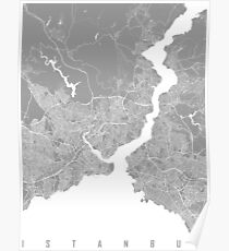 Istanbul map grey Poster