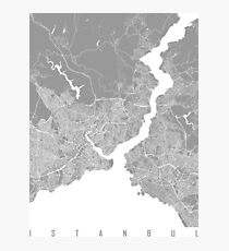 Istanbul map grey Photographic Print