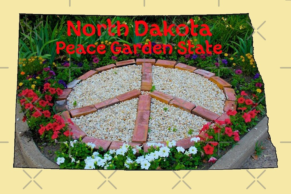 North Dakota Map with State Nickname: The Peace Garden State