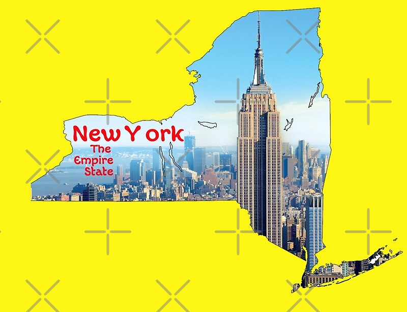 new york map with state nickname the empire state. Black Bedroom Furniture Sets. Home Design Ideas