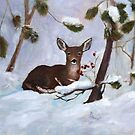 Holly Berry Deer Original Painting by Brenda Thour