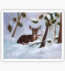 Holly Berry Deer Original Painting Sticker