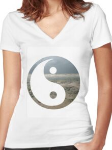 Ying yang overlay Women's Fitted V-Neck T-Shirt
