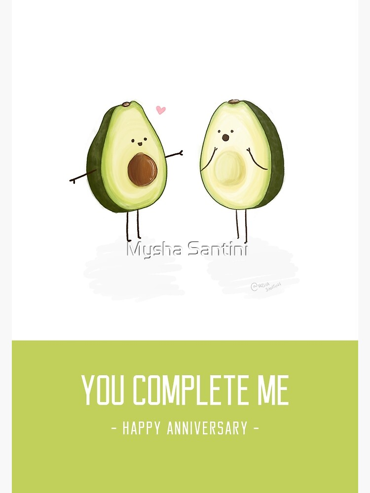 photograph about Happy Anniversary Printable Card called Avocados - By yourself Thorough Me Satisfied Anniversary Card Photographic Print