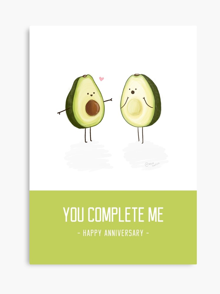 picture relating to Happy Anniversary Card Printable called Avocados - Yourself Thorough Me Joyful Anniversary Card Canvas Print