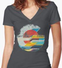 Digital Sun Horizon  Women's Fitted V-Neck T-Shirt