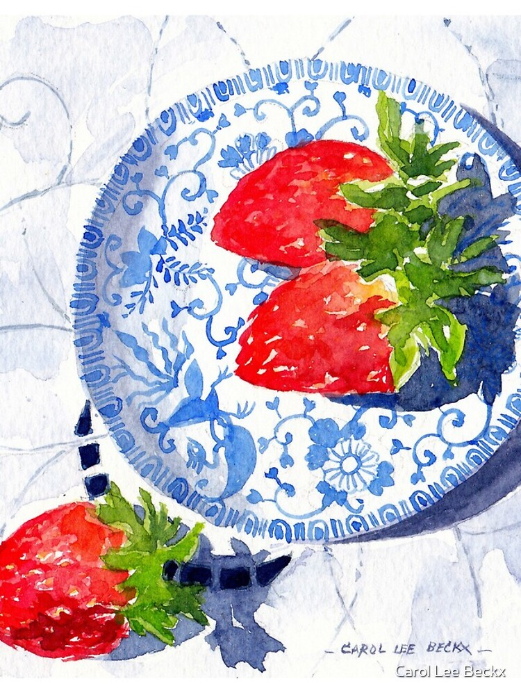 Three Strawberries - watercolour painting by Carol-Lee-Beckx