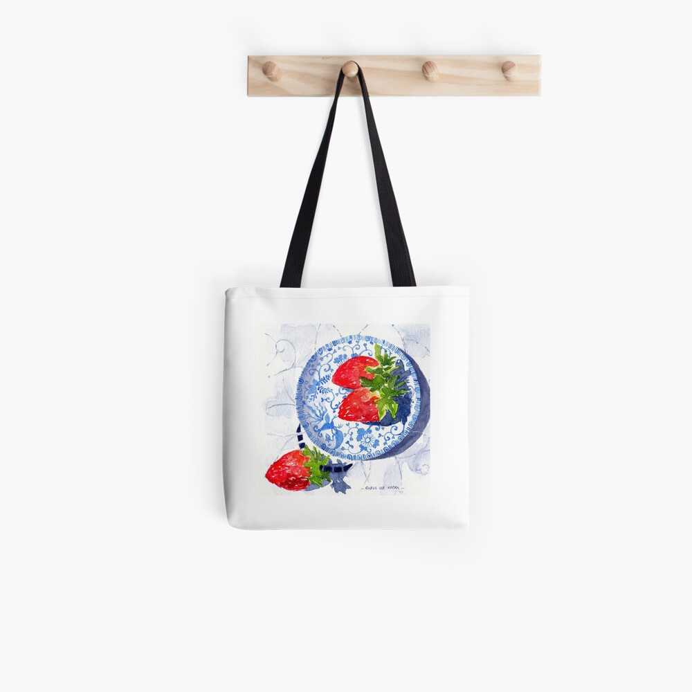 Three Strawberries - watercolour painting Tote Bag