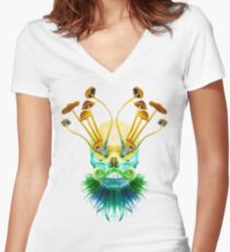 Psychedelic Shaman Women's Fitted V-Neck T-Shirt