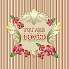 You Are Loved Red Roses Gold Ornaments Pearls Stripes by Beverly Claire Kaiya