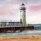 Manistee North Pierhead Light by Brenda Thour