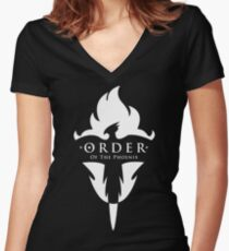 ORDER Of The Phoenix White Women's Fitted V-Neck T-Shirt