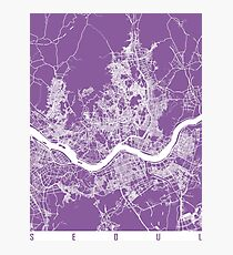 Seoul map lilac Photographic Print