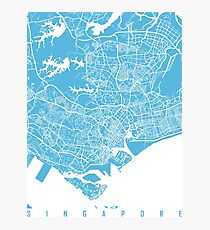 Singapore map blue Photographic Print