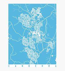 Canberra map blue australia Photographic Print
