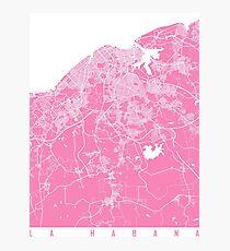 La Habana map pink Photographic Print