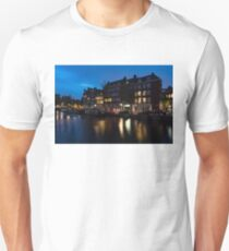 Magical Amsterdam Night - Charming Little Pink Car on the Canal Bank T-Shirt