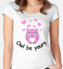 Owl be yours with hearts Women's Fitted Scoop T-Shirt