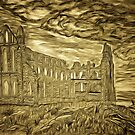 A digital painting of my pencil drawing of Whitby Abbey, Yorkshire, England by Dennis Melling