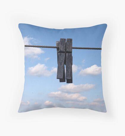 Clothespins Throw Pillow