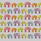 Bright Elephant Collage Pattern by ElephantTrunk