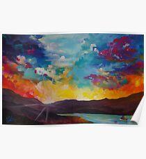 Pixel Sunrise original oil painting  Poster