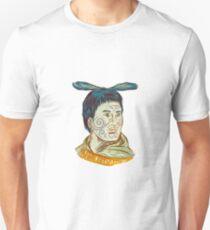 Maori Chieftain Warrior Head Drawing Unisex T-Shirt