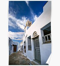 Traditional alleyway in Tinos Poster