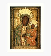 Polish Black Madonna Icon, Christian Catholic art. Our Lady of Czestochowa wall art Art Print