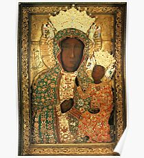 Polish Black Madonna Icon, Christian Catholic art. Our Lady of Czestochowa wall art Poster