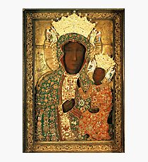 Polish Black Madonna Icon, Christian Catholic art. Our Lady of Czestochowa wall art Photographic Print