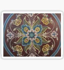 Rosemal Norway Old World Brown Teal Natural Floral Folk Art Material Fabric Duvet Cover Tole Fraktur Kirsten Sticker