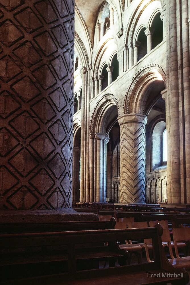 Pillar in nave Durham Cathedral 19810104 0034 by Fred Mitchell