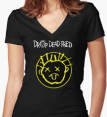 Drop Dead Fred Smiley Face Women's Fitted V-Neck T-Shirt