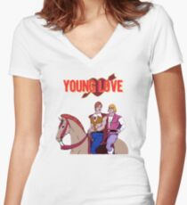 Young Love (He-Man and Bow) Women's Fitted V-Neck T-Shirt
